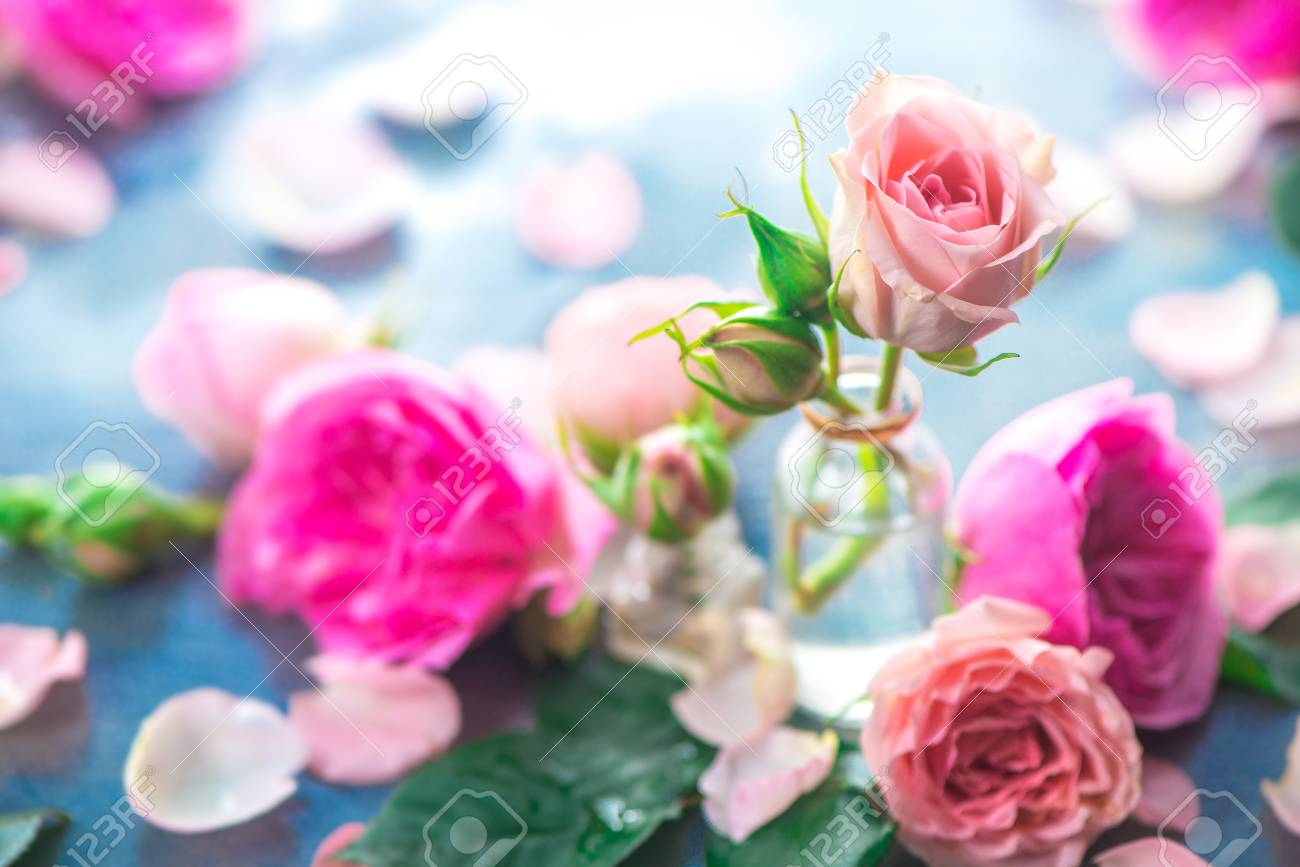 Glass bottles with pink peony roses on a light background with copy space. Feminine header with petals and flowers in pastel tones - 114729995