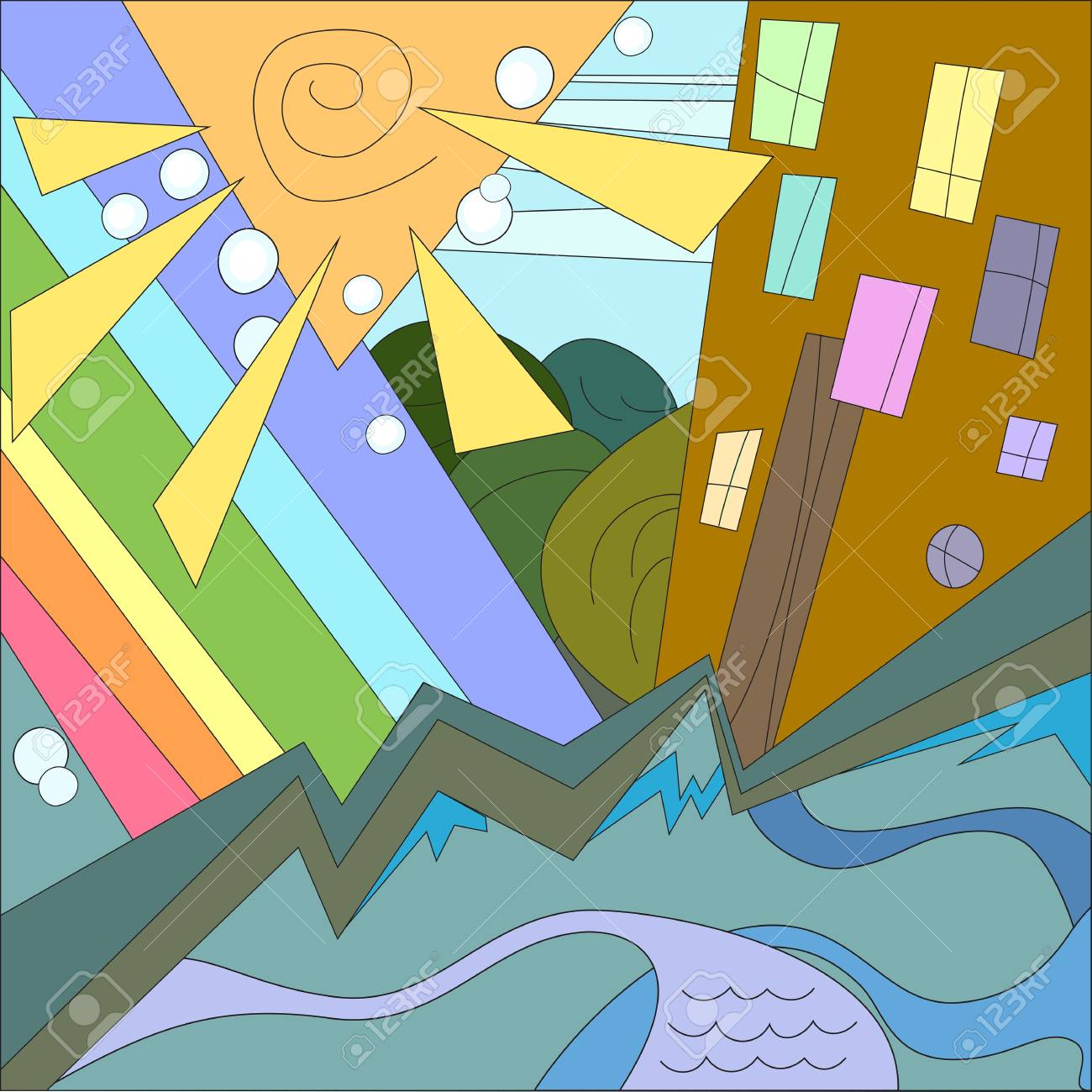 Colorful city with sun and rainbow Stock Vector - 17665583