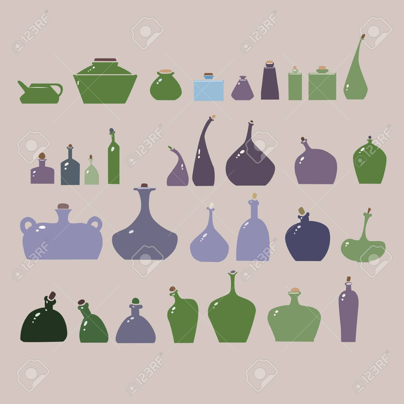 Vector illustration of bottles and glasses set. Stock Vector - 17910208