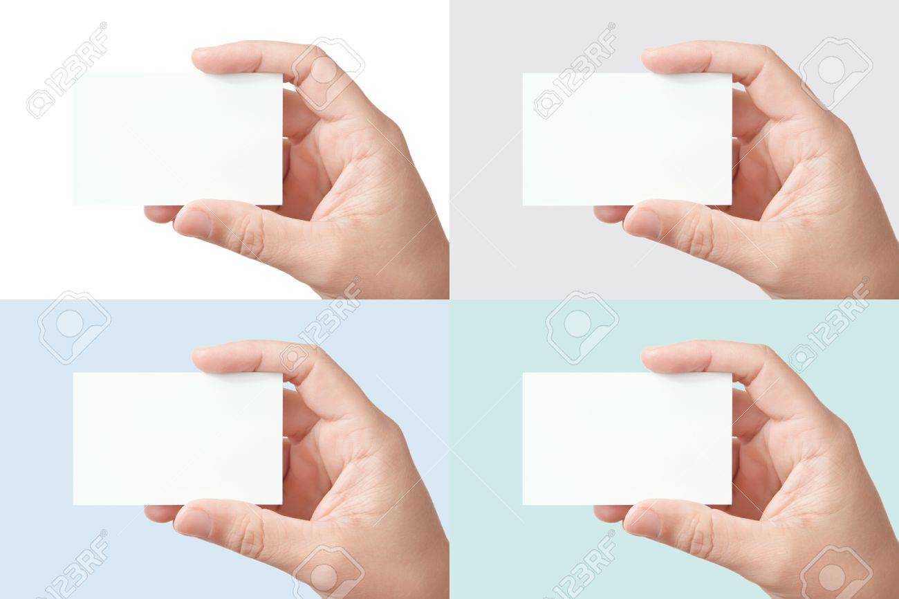 Hand holding blank business card, a set of 4 colored backgrounds Stock Photo - 7970186