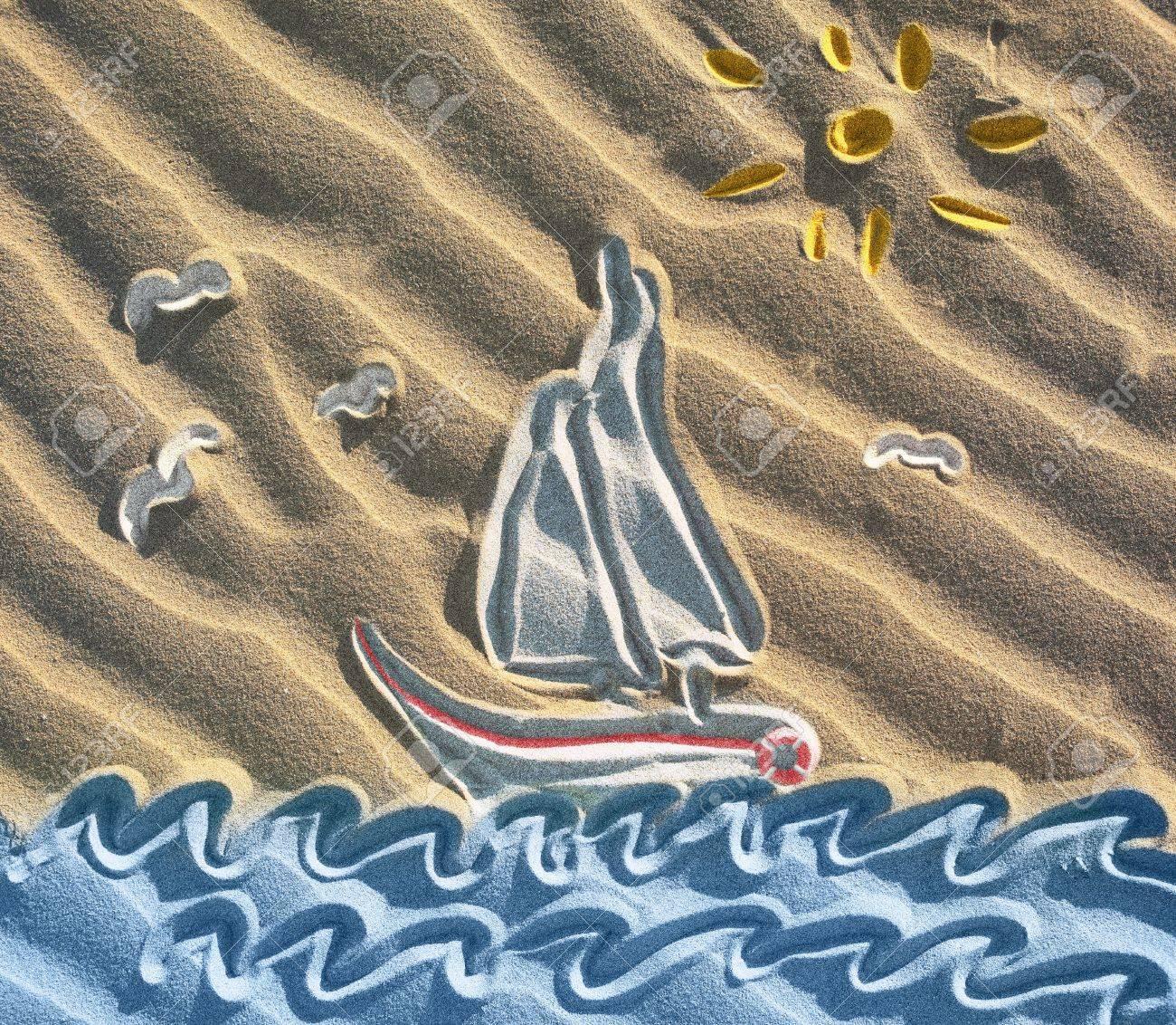 banque dimages dessin color de voilier sur le sable - Dessin Sable Color