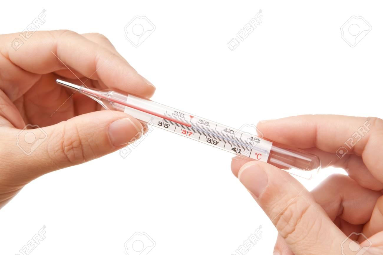 Hands holding thermometer showing 37'C, isolated on white Stock Photo - 8118666