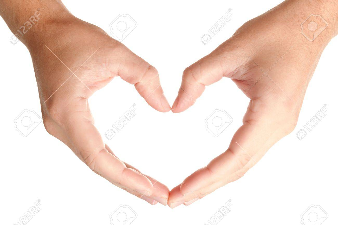 Men hands in protecting heart's shape, showing love and care symbol, isolated on white background, may use as a copy space for your object or text Stock Photo - 8254157