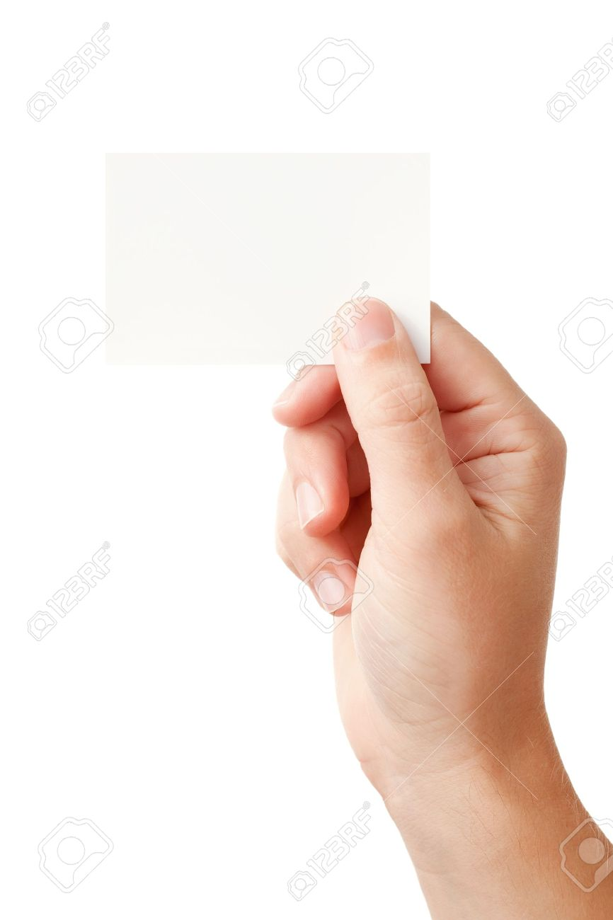 Businessman's hand holding blank paper business card, closeup isolated on white background Stock Photo - 8937431