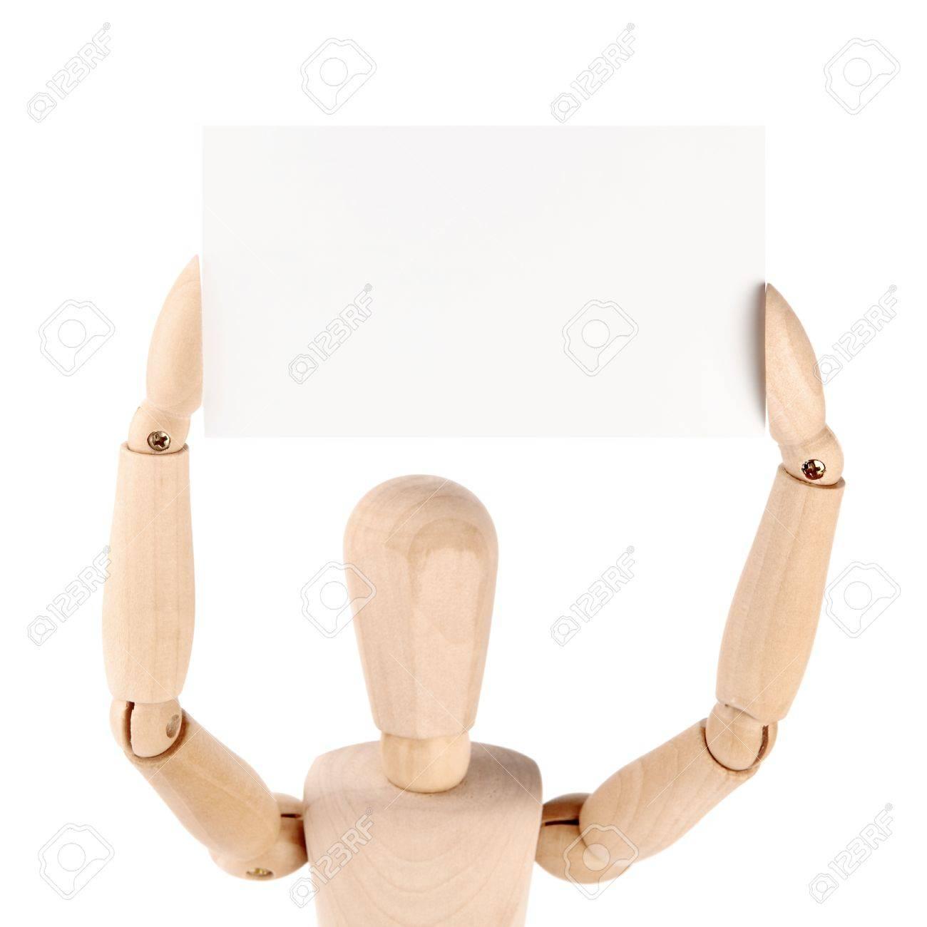 Mannequin En Bois Montrant La Carte De Visite Papier Vierge