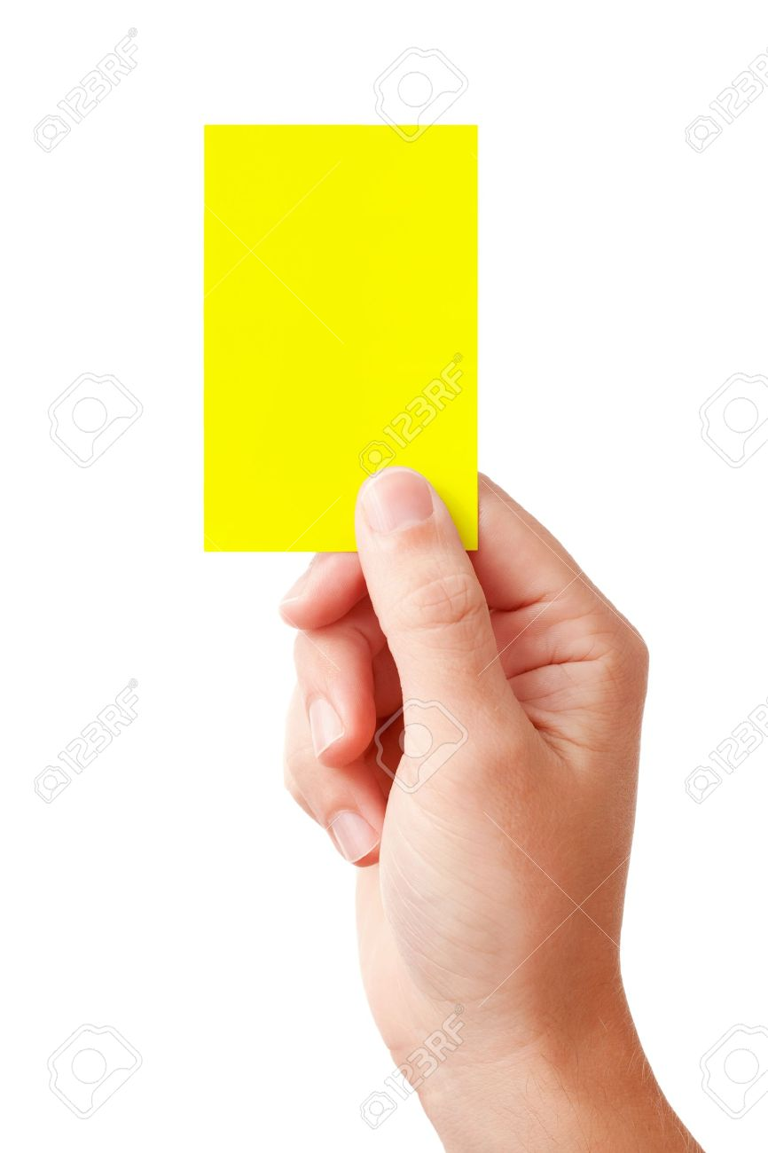 Hand of a judge showing warning symbol - yellow card, isolated on white background Stock Photo - 9247265