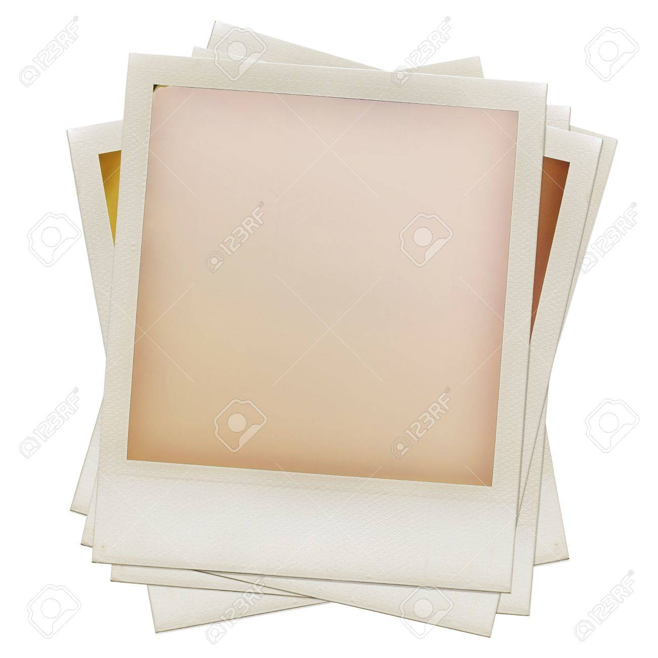 A pile of grungy blank instant film frame with abstract  filling, isolated on white, kind of a background, vintage hard grain effect added Stock Photo - 10708002