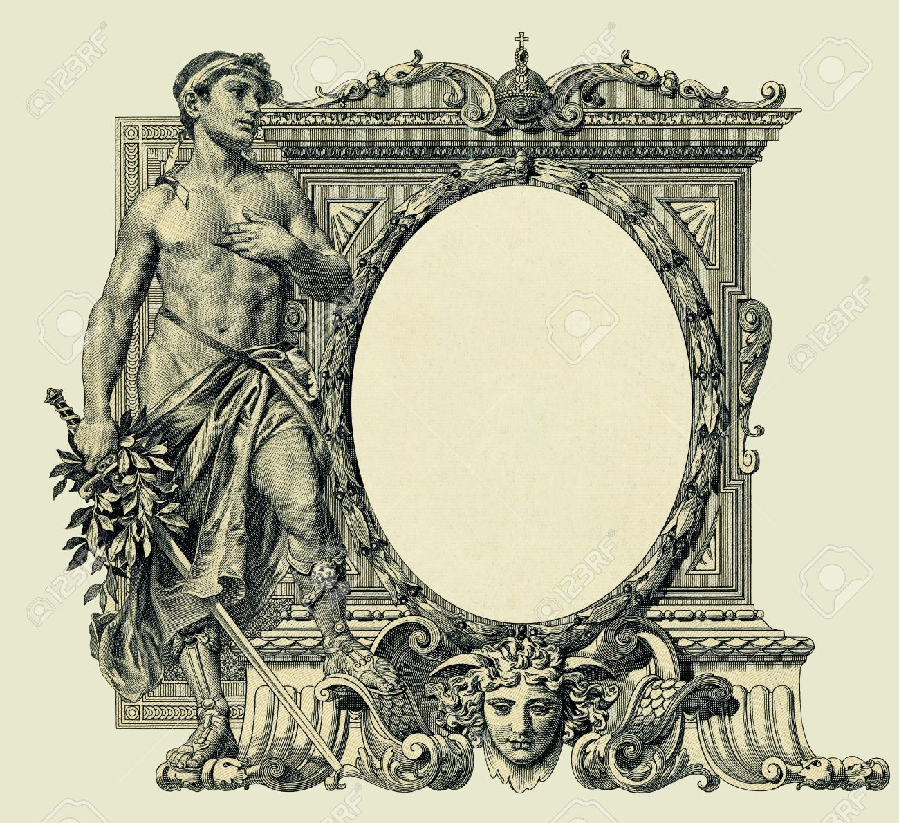 vintage oval frame based on 1910 engraving copyright expired old paper texture