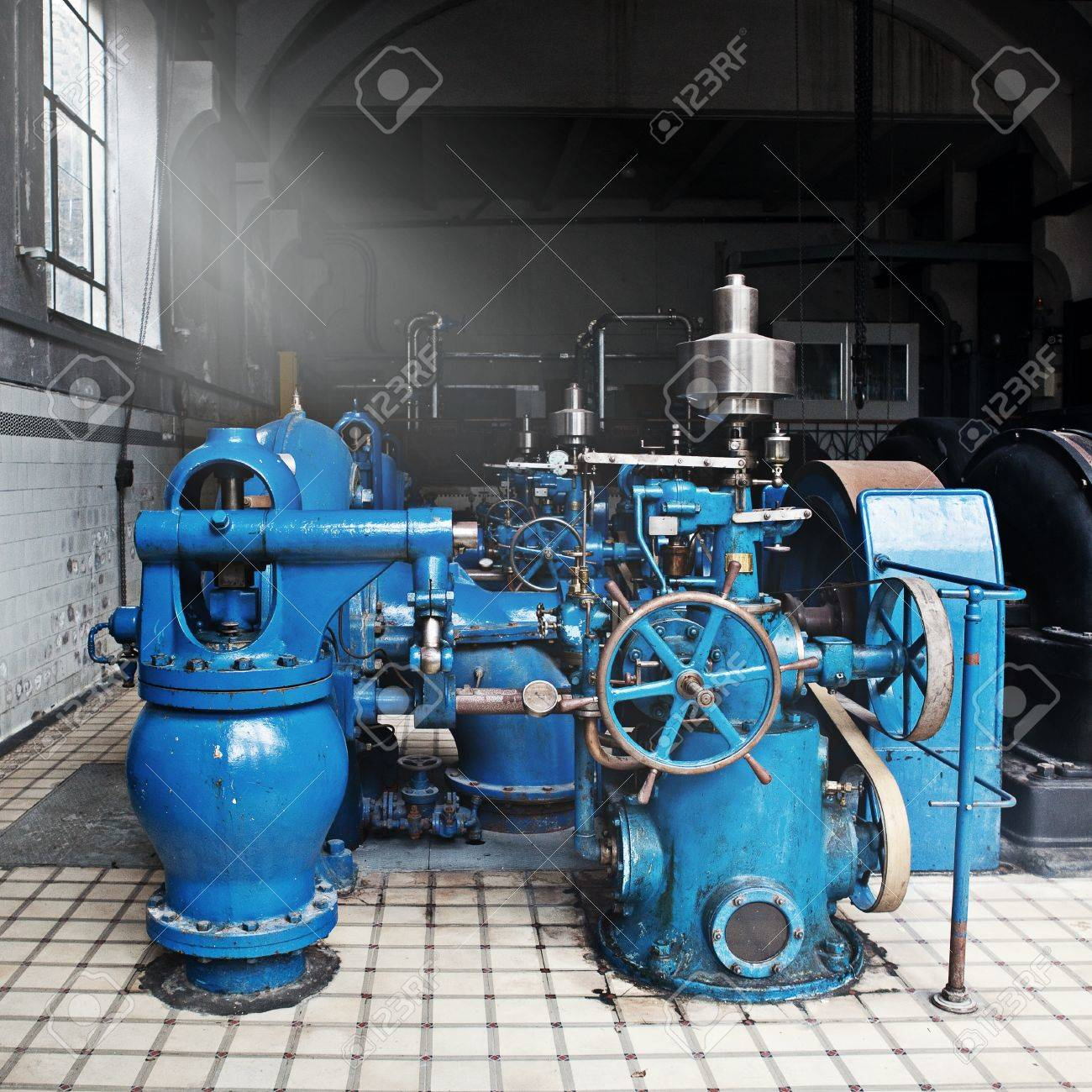 Heavy Water Pumping Machinery In Vintage Industrial Water Cleaning ...