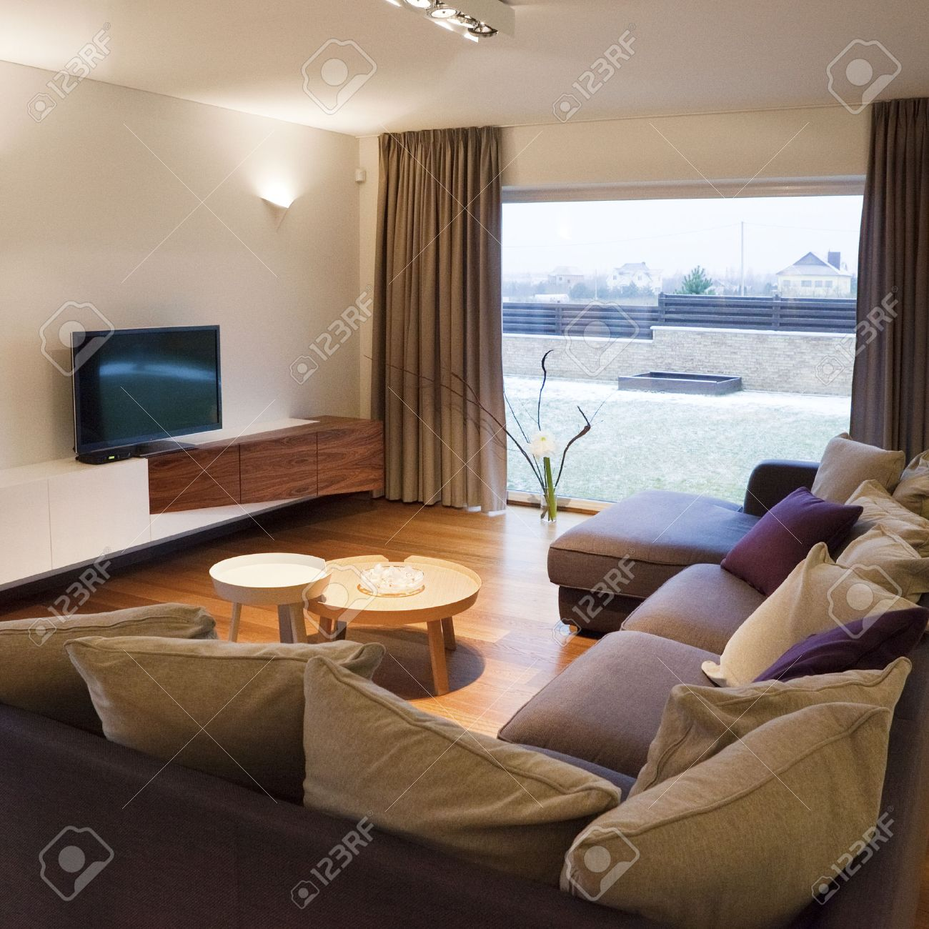 interior design  cozy living room with tv set and large window, Living room