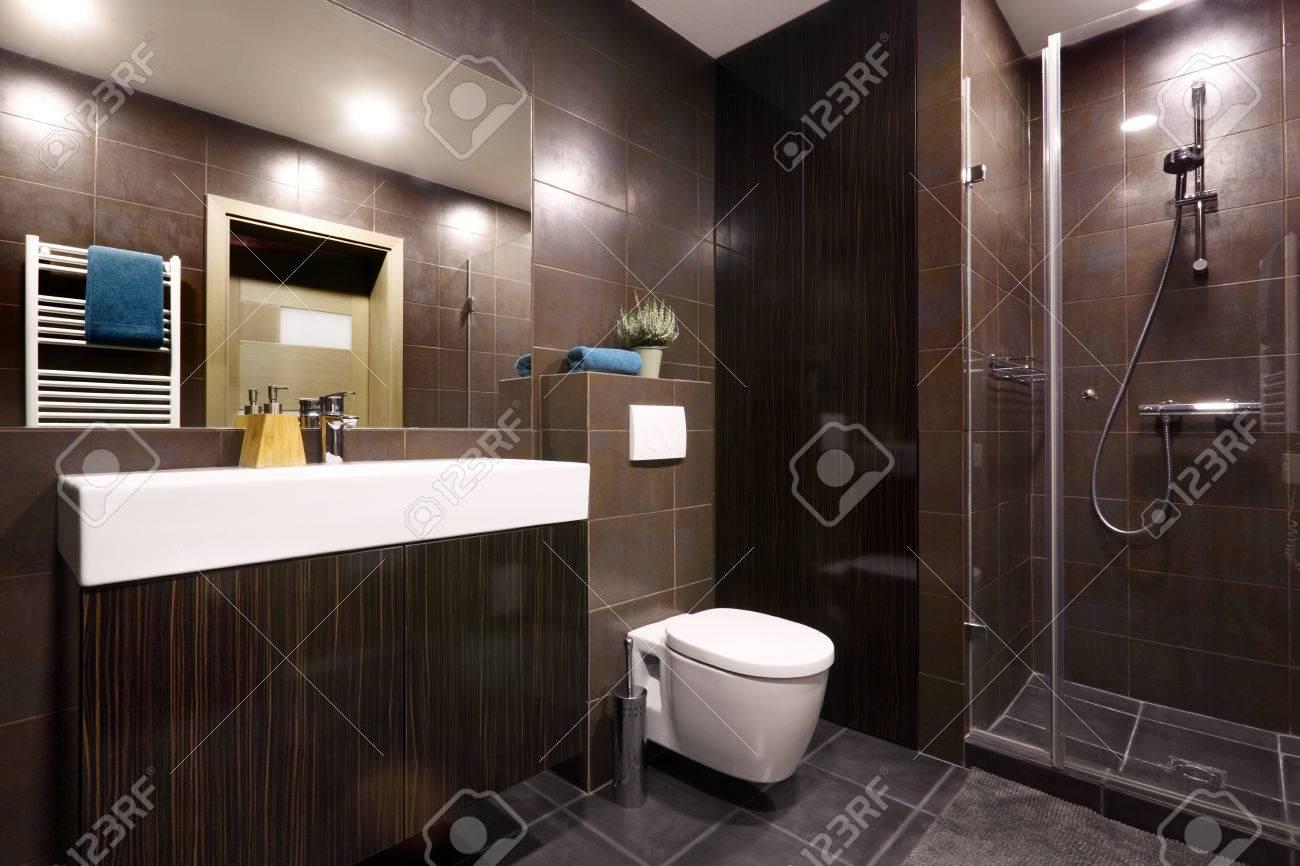 Intérieur - salle de bain privée moderne décorée dans des couleurs de  chocolat noir
