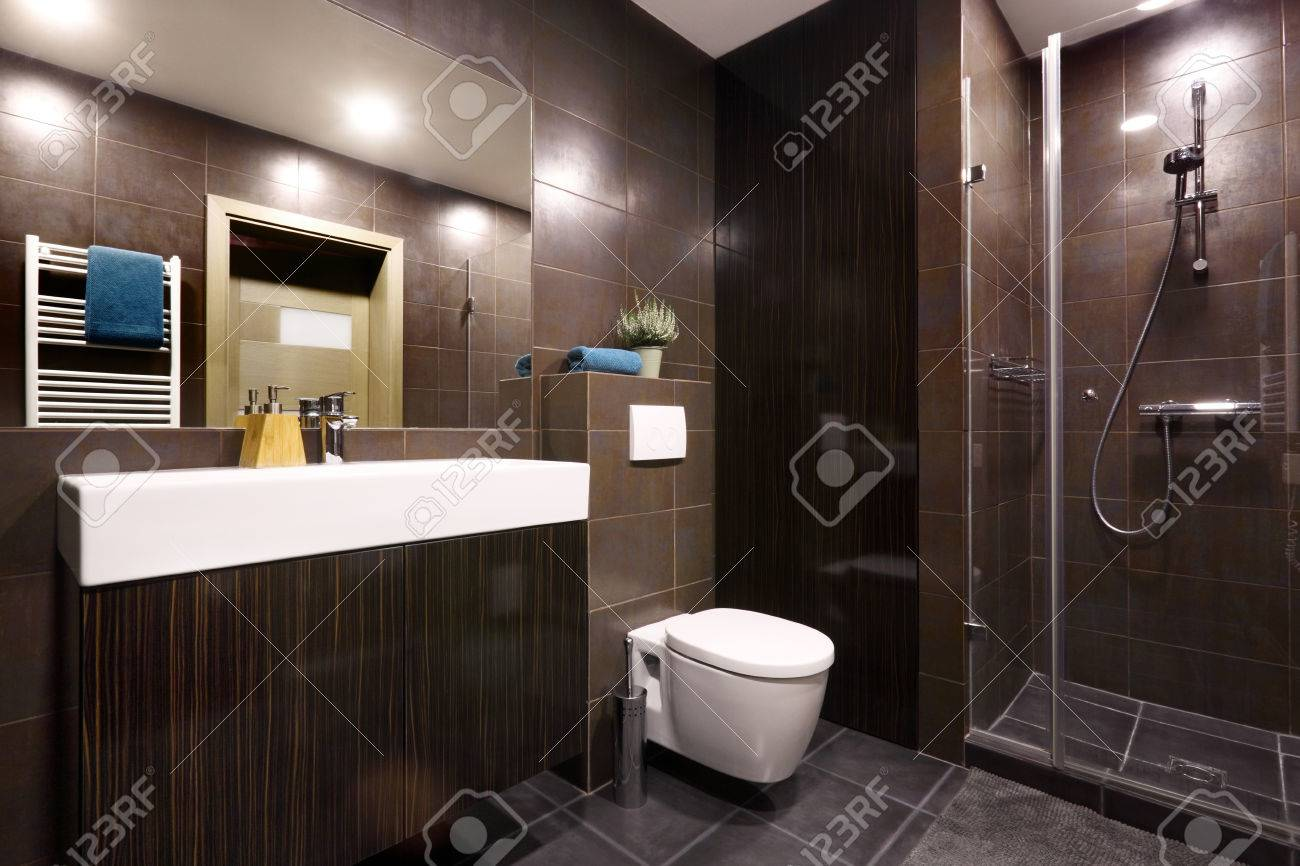 Interior Modern Private Bathroom Decorated In Dark Chocolate
