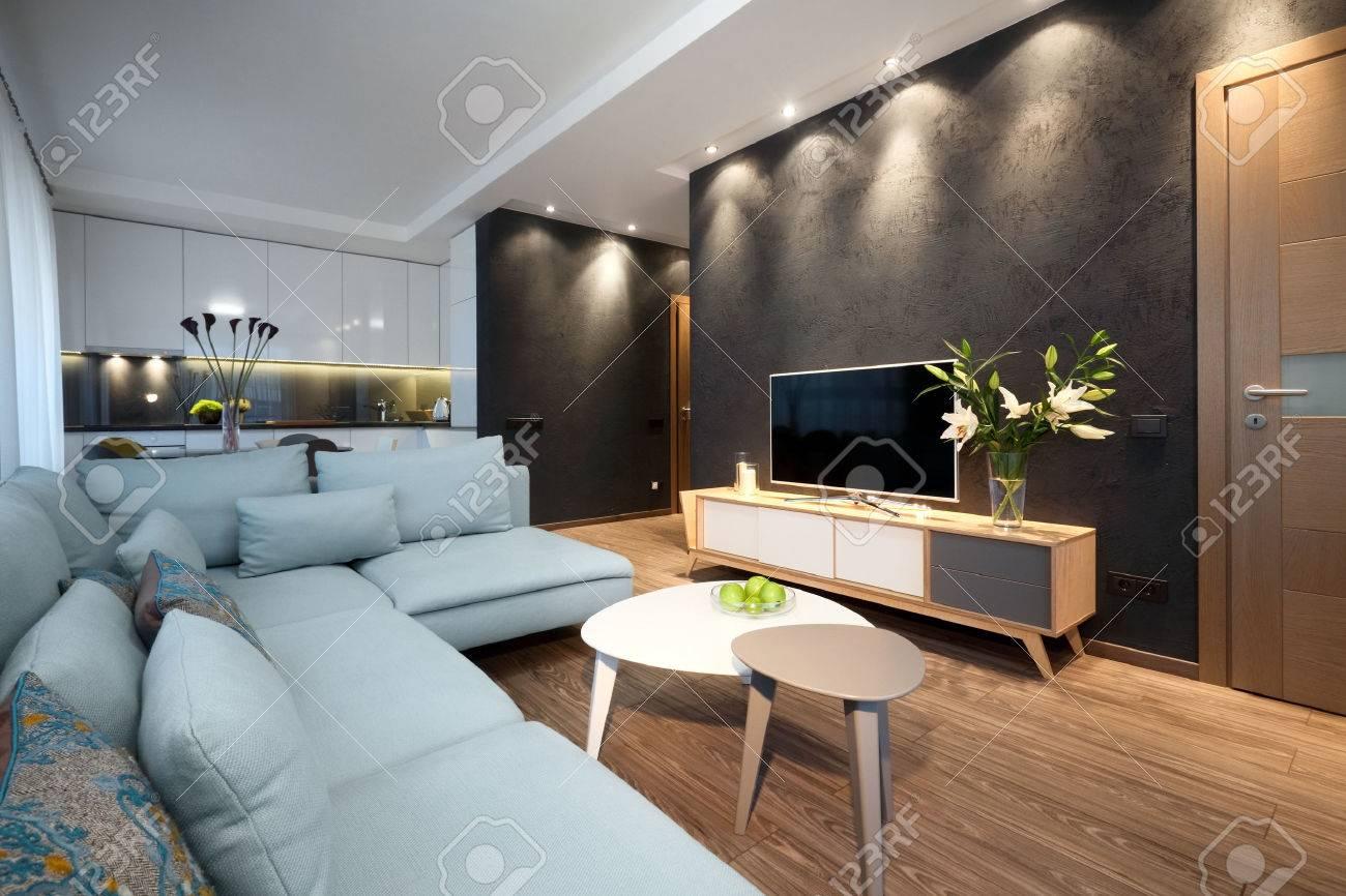 Banque Du0027images   Intérieur   Design Moderne Du0027un Salon Dans Un Petit  Appartement