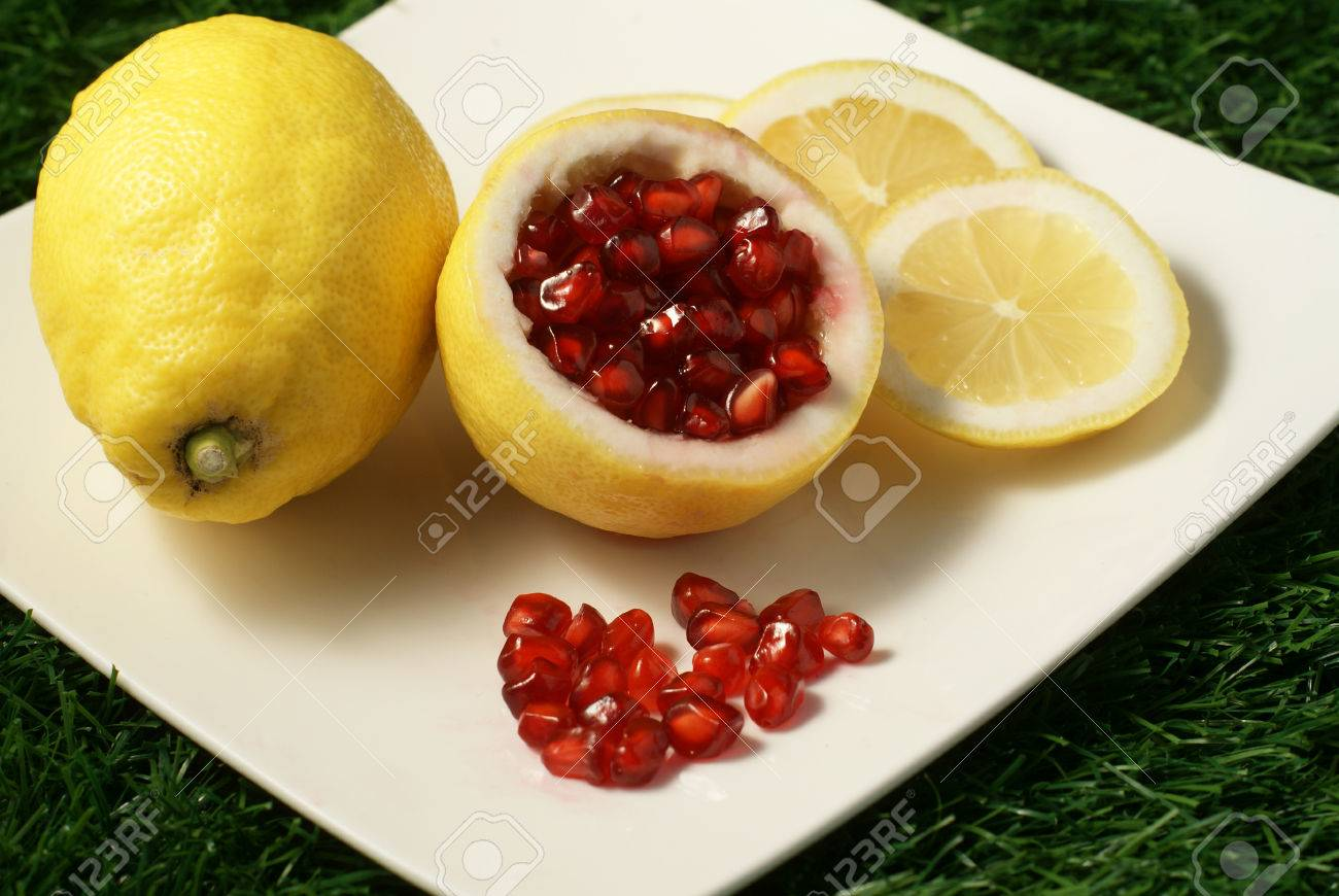 Loose Pieces Of Pomegranate Fruit Or Buah Delima In Lemon With Stock Photo Picture And Royalty Free Image Image 25893607