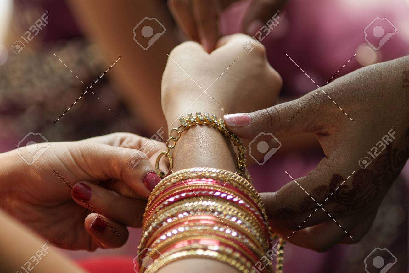 Young Indian Girl Wearing Bangles And Hand Ring Piece Decoration ...