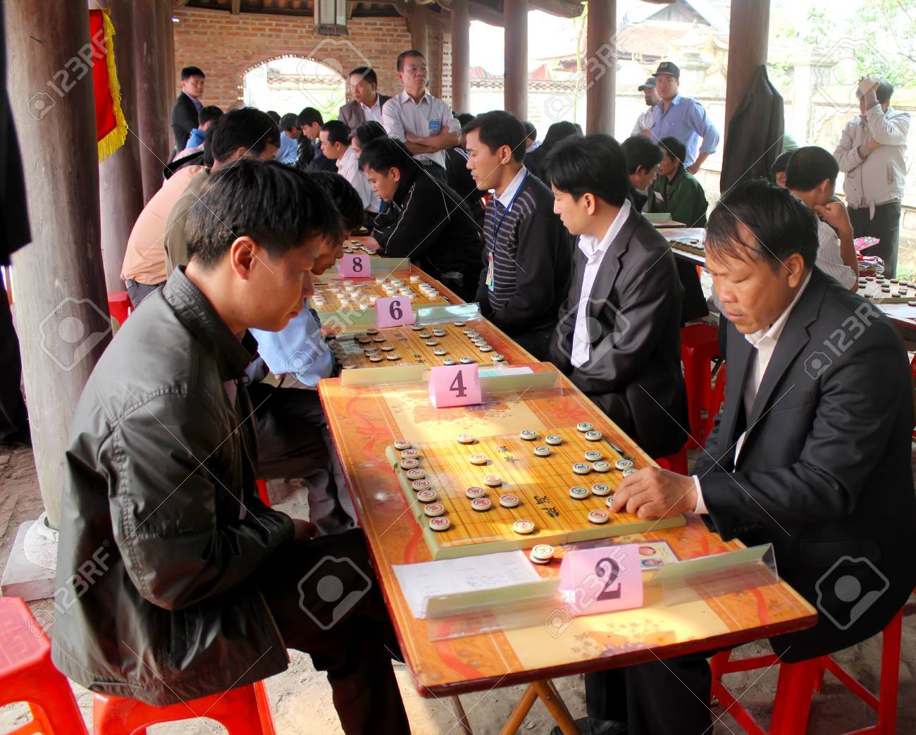 hai duong vietnam march 29 players play chinese chess in stock