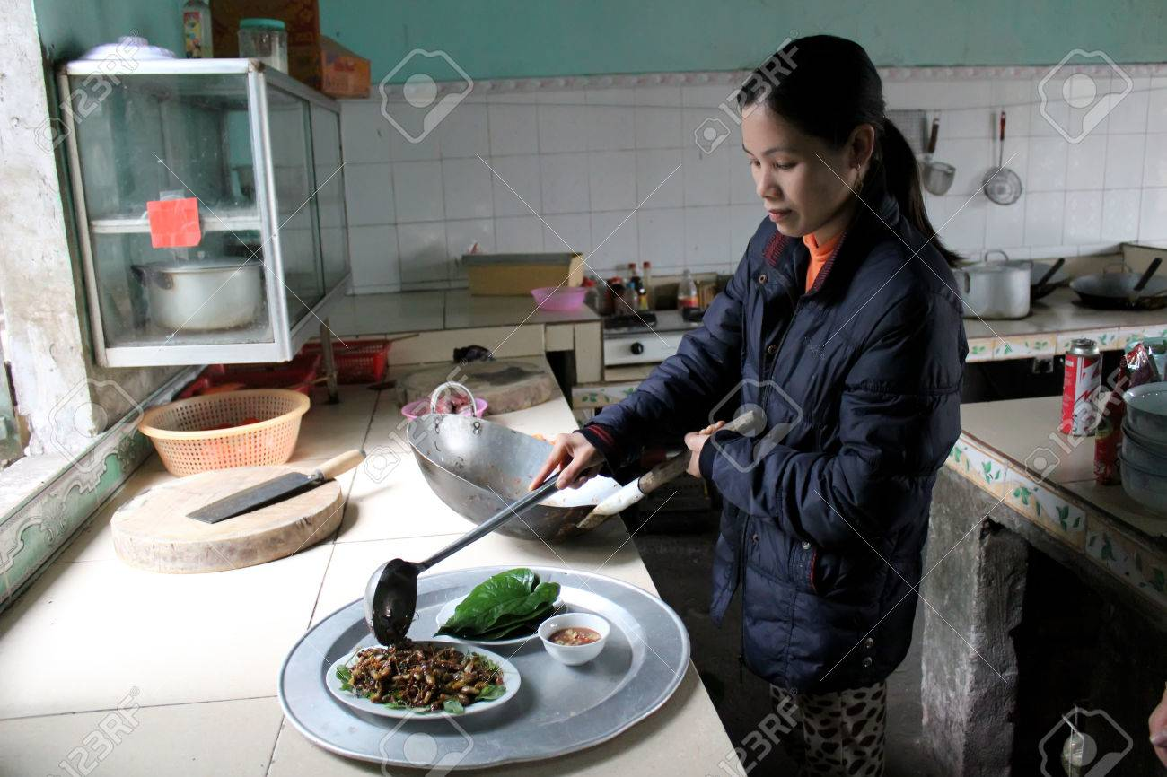 HAI DUONG, VIETNAM, MAY 27: Female chef process fried cicadas, unique rustic dishes of Vietnam on May 27, 2013 in Con Son pagoda, Chi Linh, Hai Duong, Vietnam - 22716424