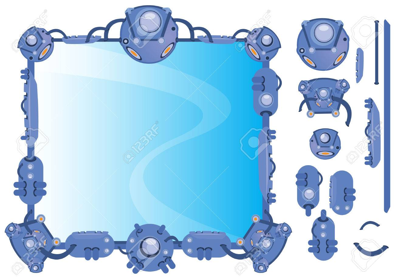 Hi-Tech frame concept illustration with component detach for easy assemble Stock Vector - 6782972