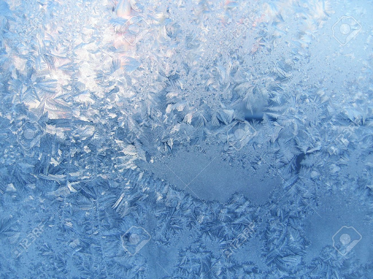frosty natural pattern on winter window - 5837576