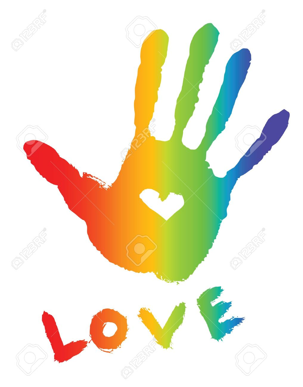 bright colorful handprint with love symbol and 'love' word - 11060252