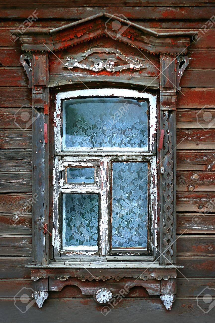 window of very old wooden russian house Stock Photo - 11666981