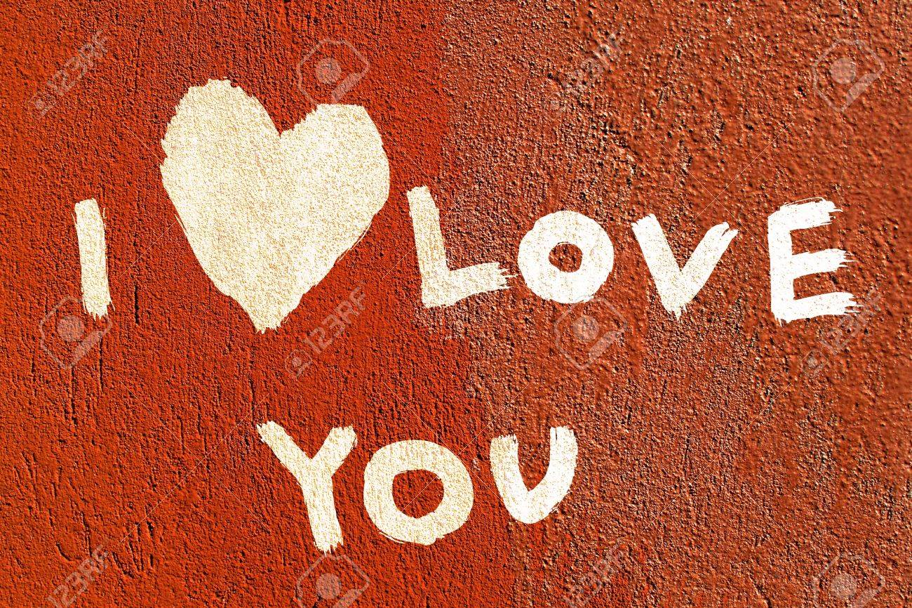 inscription I love you with abstract heart on the paint wall Stock Photo - 12053963