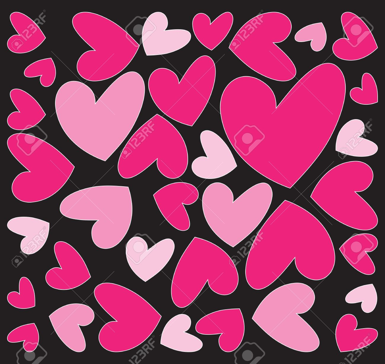 Black and pink hearts background photo photo