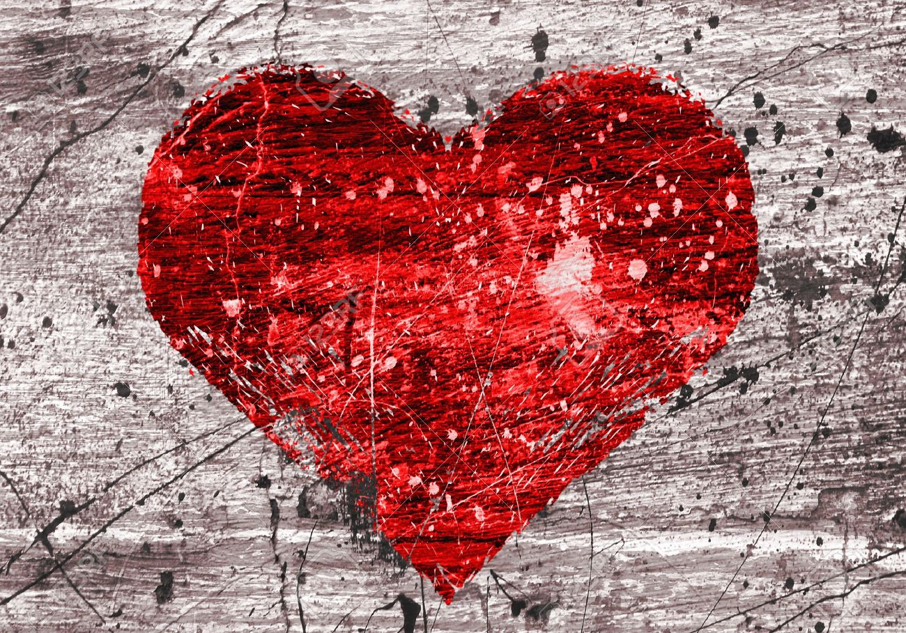 grunge background with abstract heart - 13142580