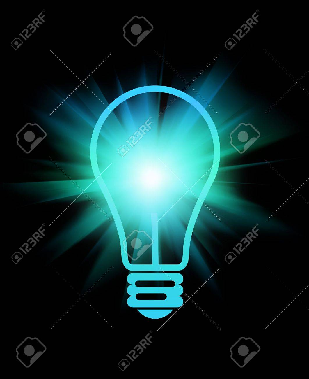 abstract light bulb with beams on black - 14292387