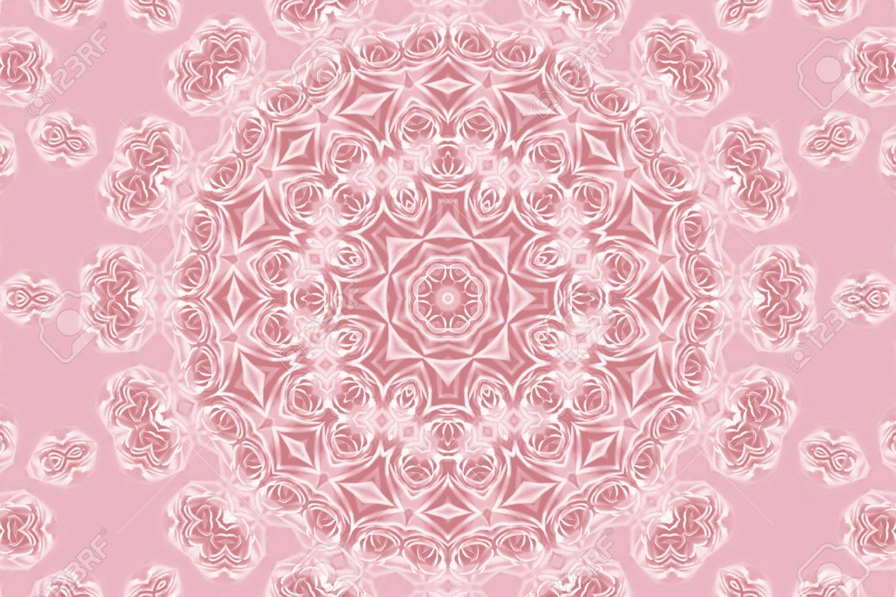 Pink Pattern With Natural Flowers Of Rose
