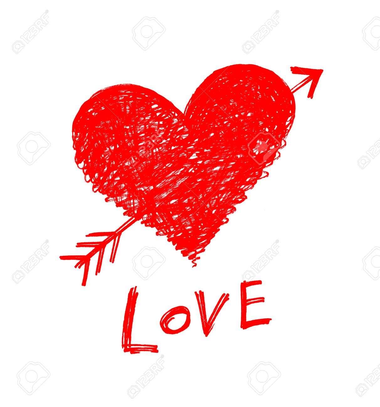 drawing of a heart pierced by an arrow with word love stock photo