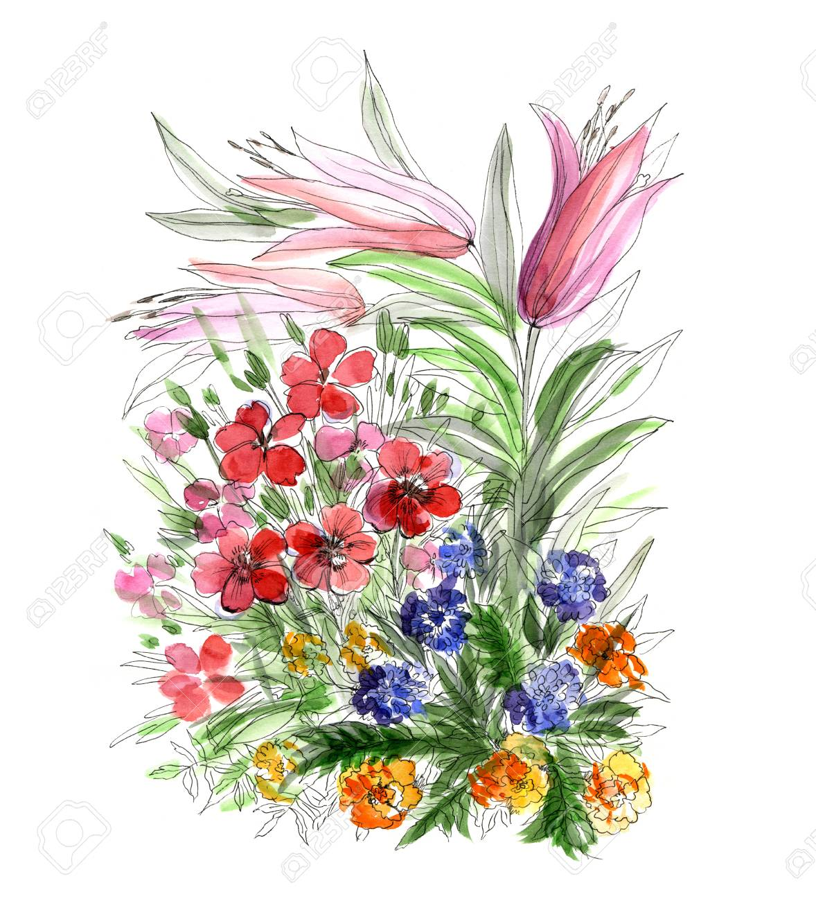 Decorative Watercolor Hand Drawing Bouquet Of Flowers Stock Photo ...