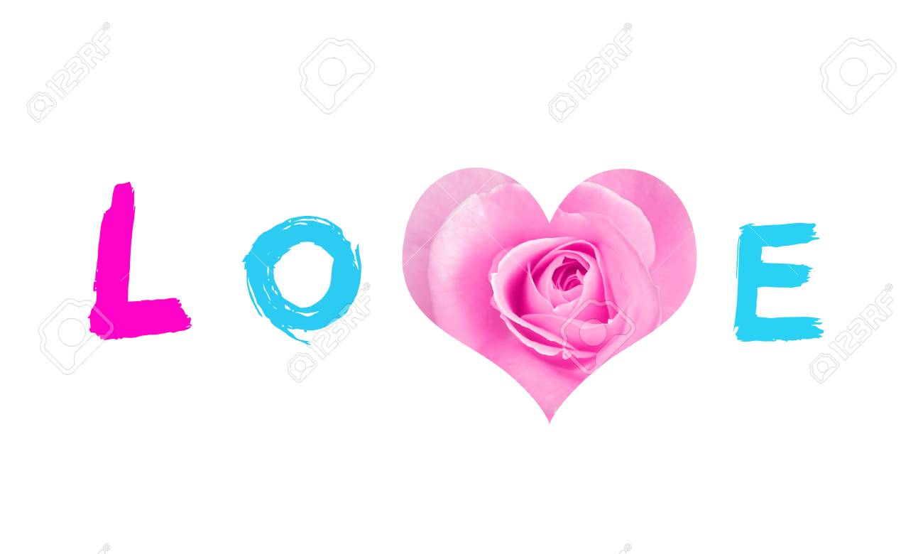 ''Love'' with heart symbol from bud of rose isolated on white background. ''