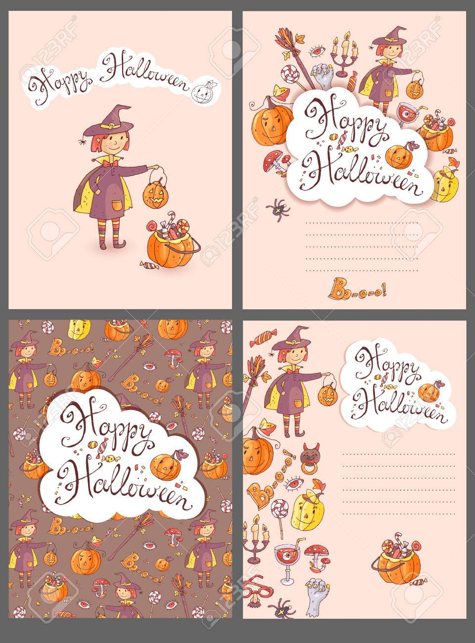 Hand Drawn Doodle Vector Halloween Greeting Cards With The Witch