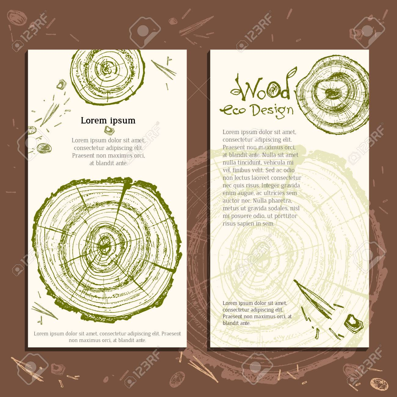 Hand drawn vector wooden slice. Pine tree. Organic modern ecological design. Natural green and brown colors template. Forest floor. Ready design. - 63520491