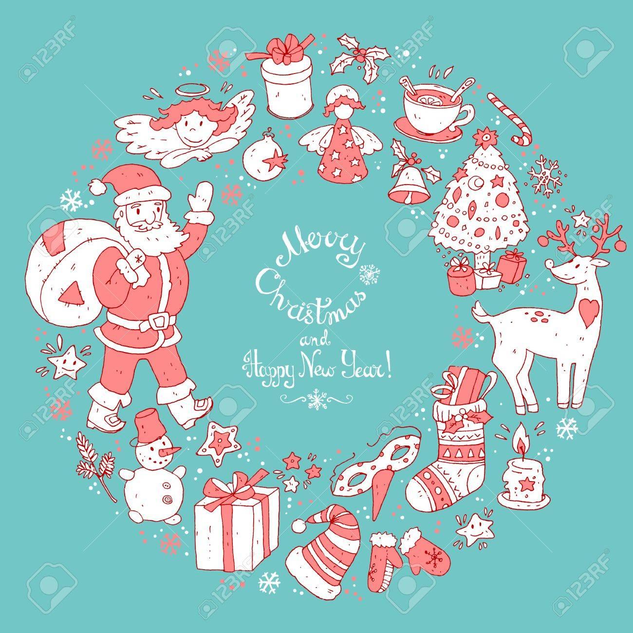 Vector circular wreath christmas greeting card template merry vector circular wreath christmas greeting card template merry christmas and happy new year m4hsunfo Gallery