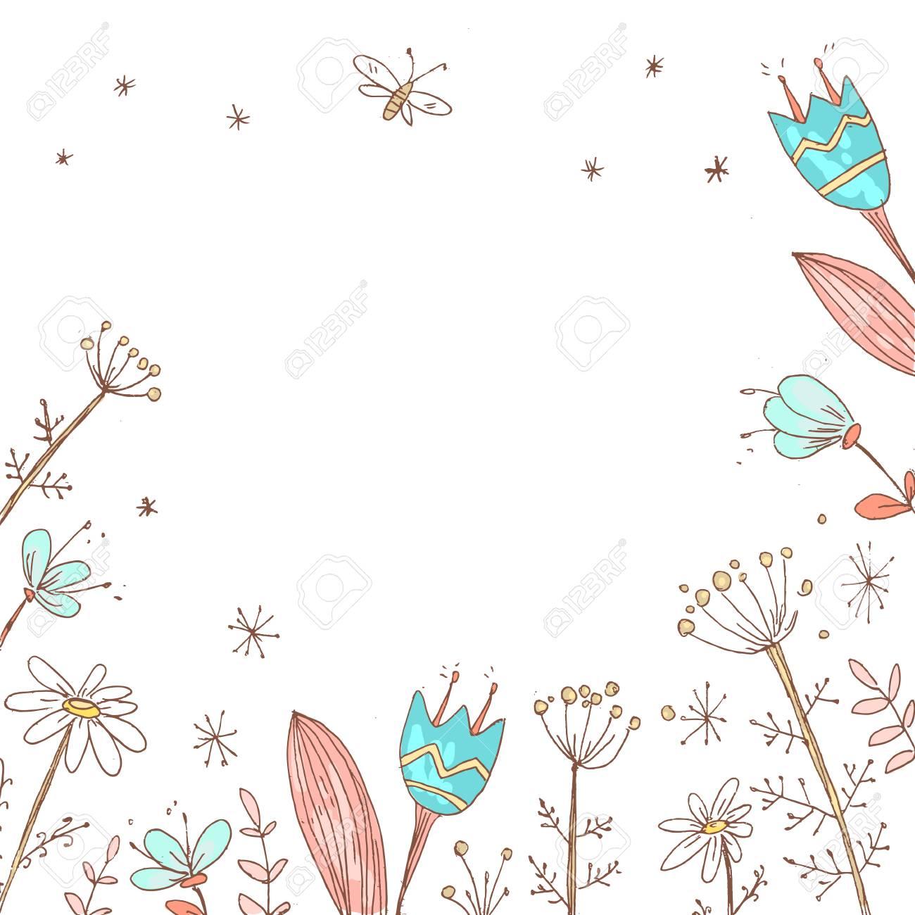 Handdrawn Vector Floral Background Simple Doodle Flowers Paste