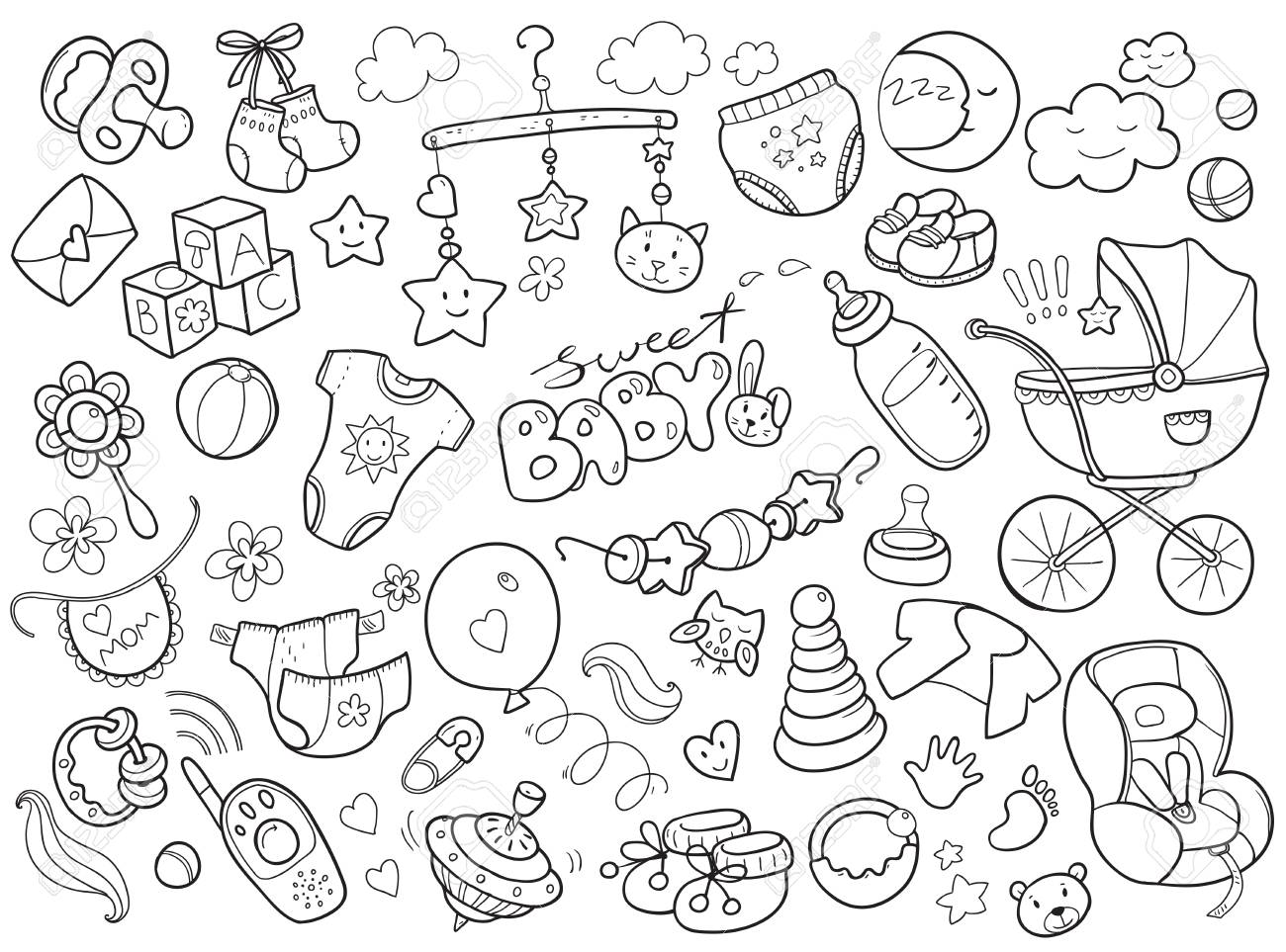 228c7d6de Newborn infant themed cute doodle set. Baby care, feeding, clothing, toys,