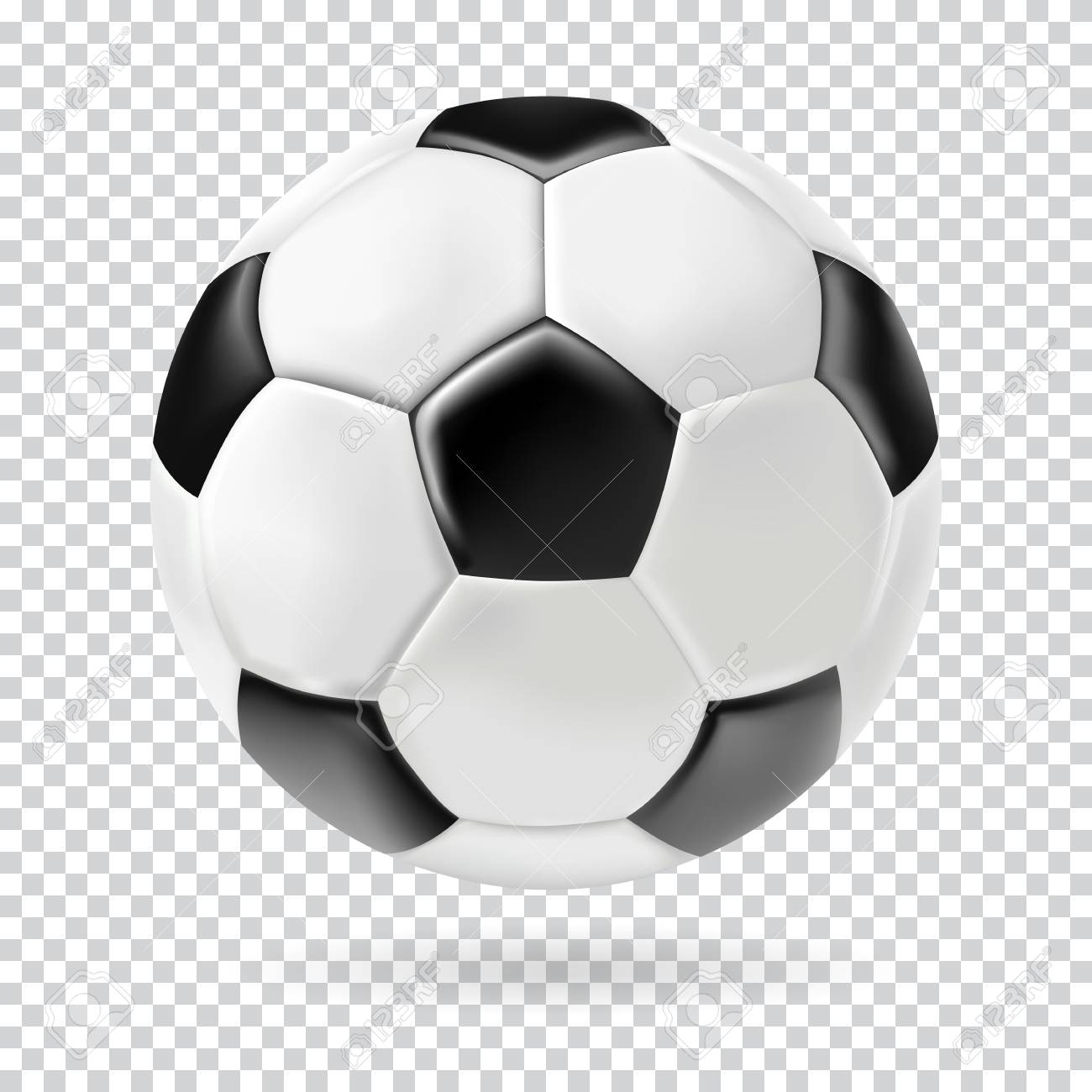 Vector 3d Football Isolated Ball On Transparent Background
