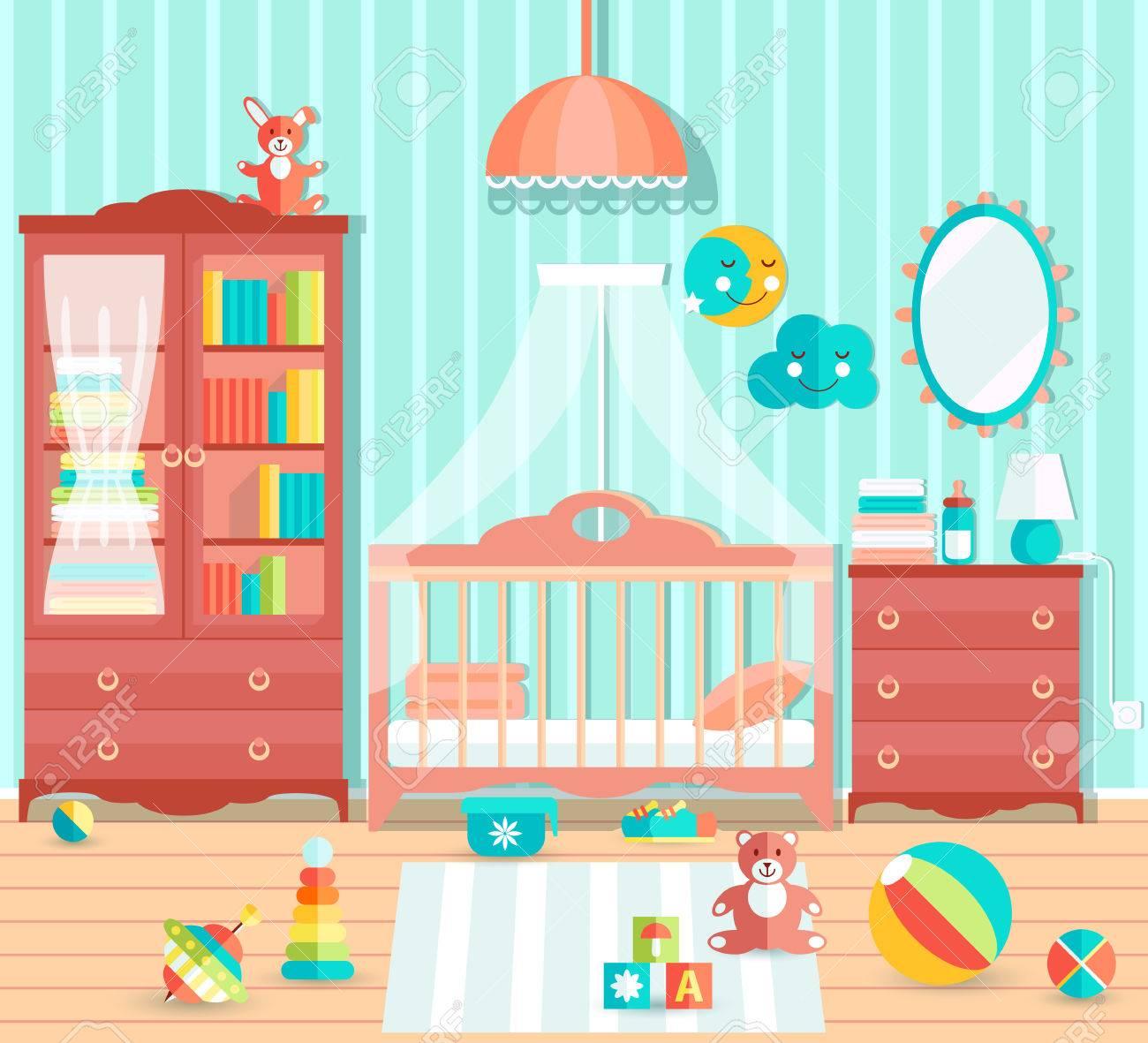 Babyzimmer Mit Mobeln Stilvolle Susse Blaue Farben Flacher Stall