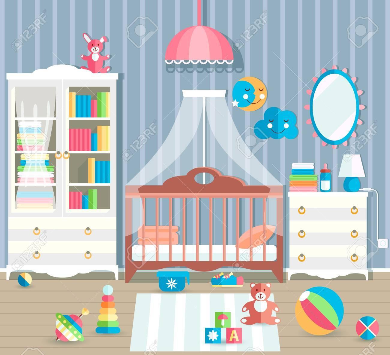 Babyzimmer Mit Mobeln Stilvolle Susse Farben Flache Vektor