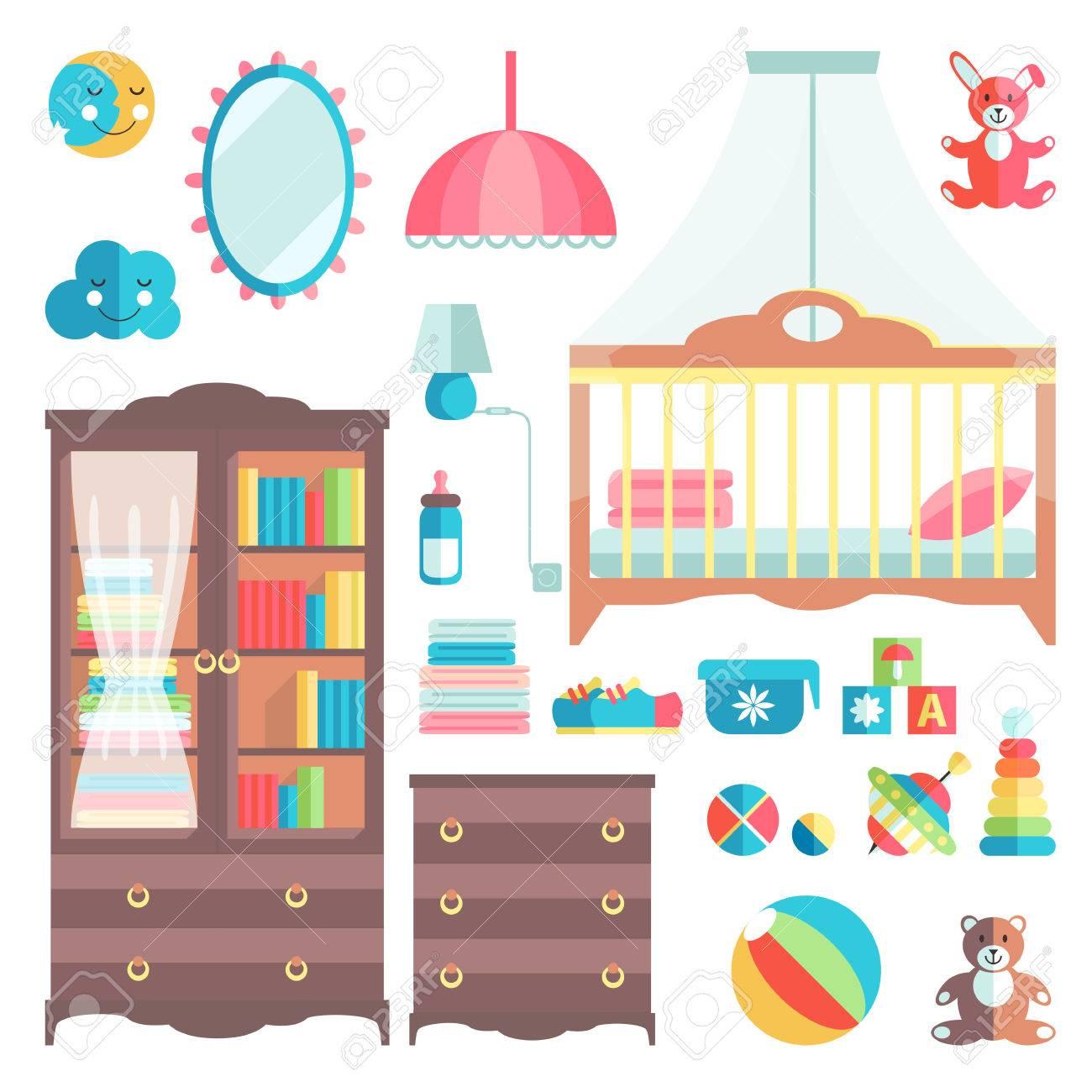 Muebles Y Juguetes Para La Habitación Del Bebé. Elegantes Colores ...
