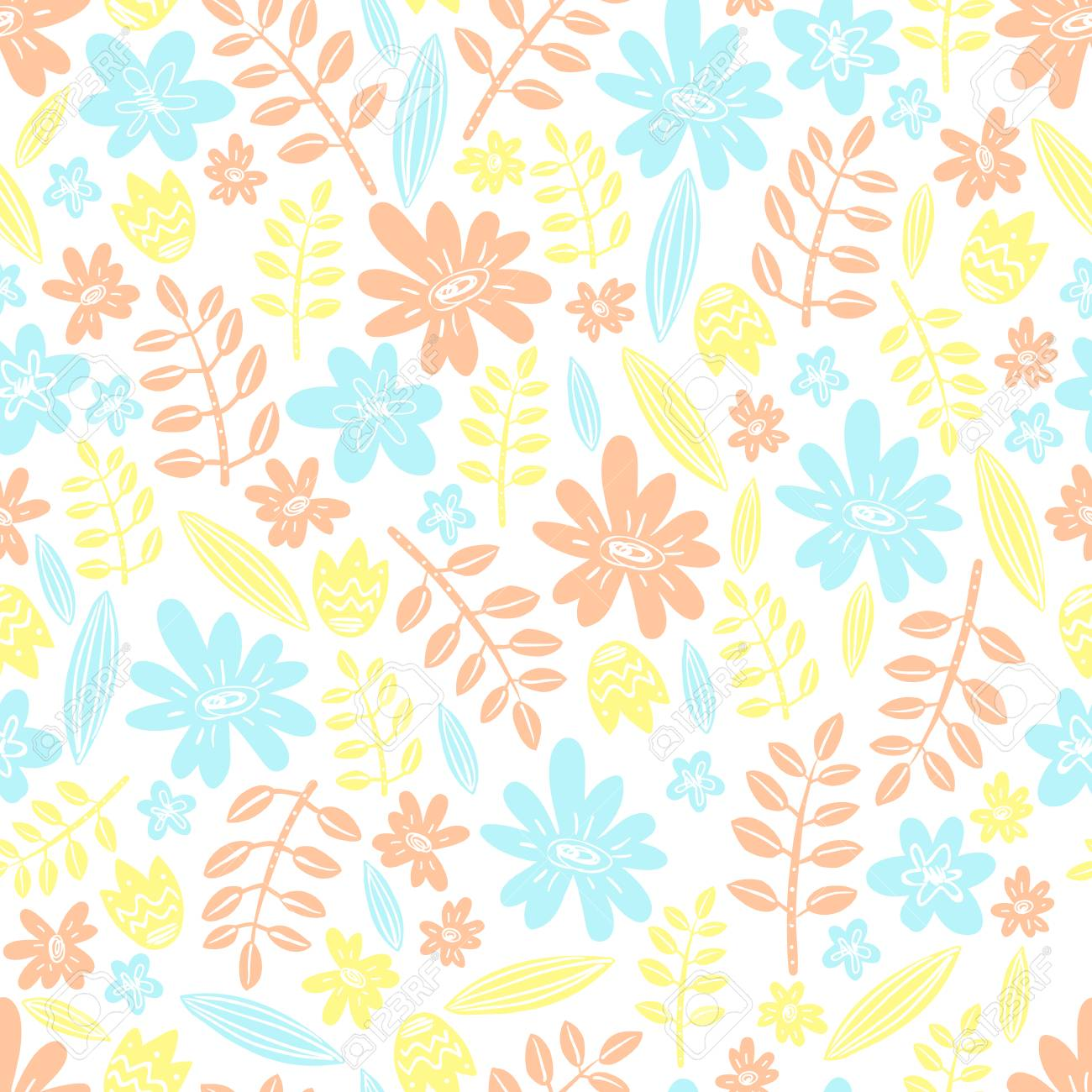 Seamless vector pattern scrapbooking background wrapping paper scrapbooking background wrapping paper flowers and leaves pastel colors mightylinksfo