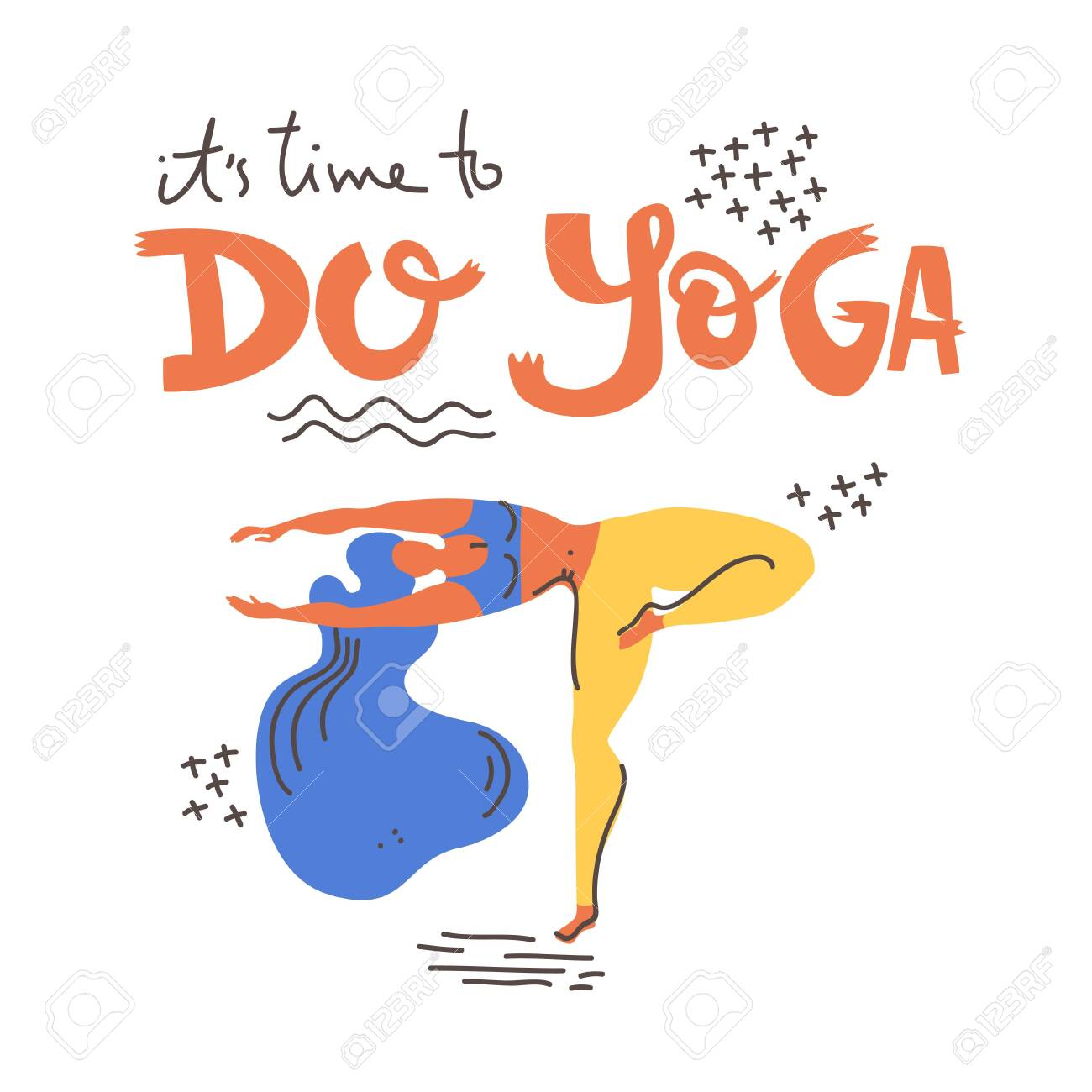 Yoga vector lettering  It's time to do yoga  Woman in asana