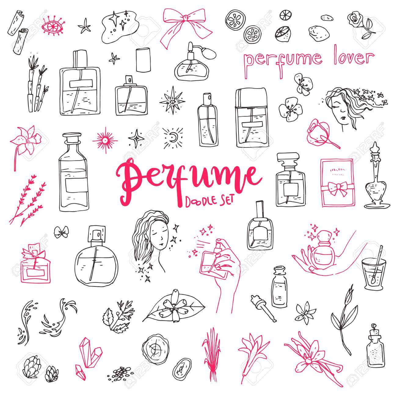 Perfume doodle set. Bottles, ingredients and decorative elements, simple cute style. - 143539457