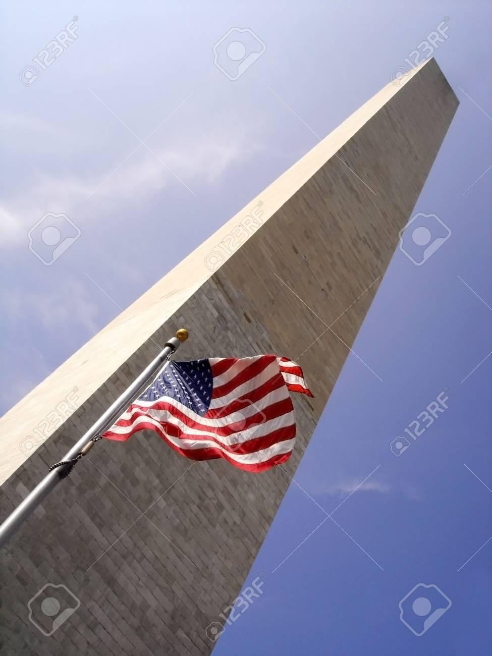Washington Monument,Washinton DC with Stars and Stripes Stock Photo - 1920872