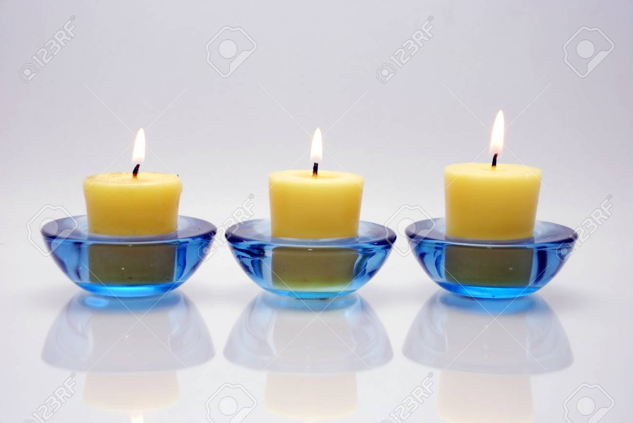 Three Blue Candle With Fire: White Background Stock Photo, Picture ... for Blue Candle White Background  110zmd