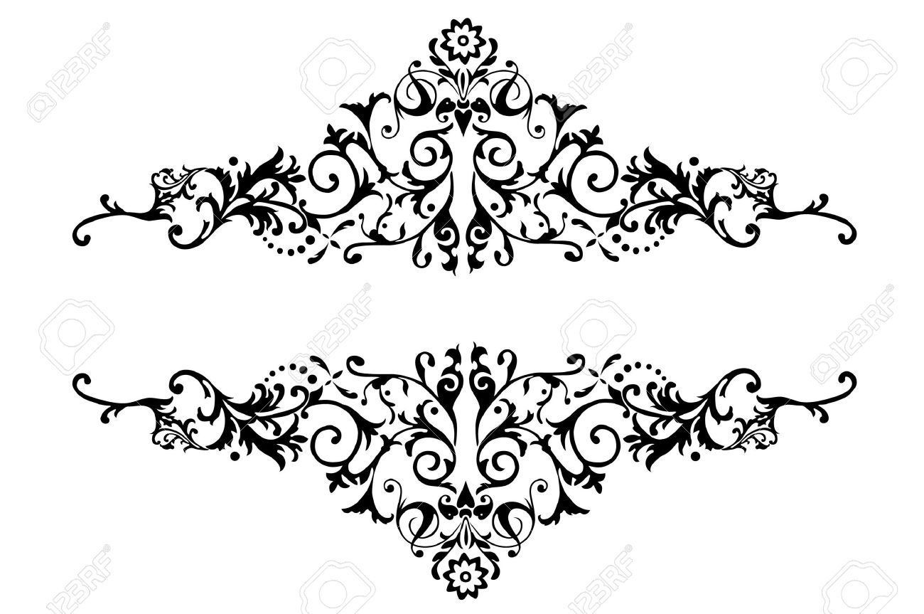 Beau A Floral Border Design Over The White Background Stock Photo   5678624