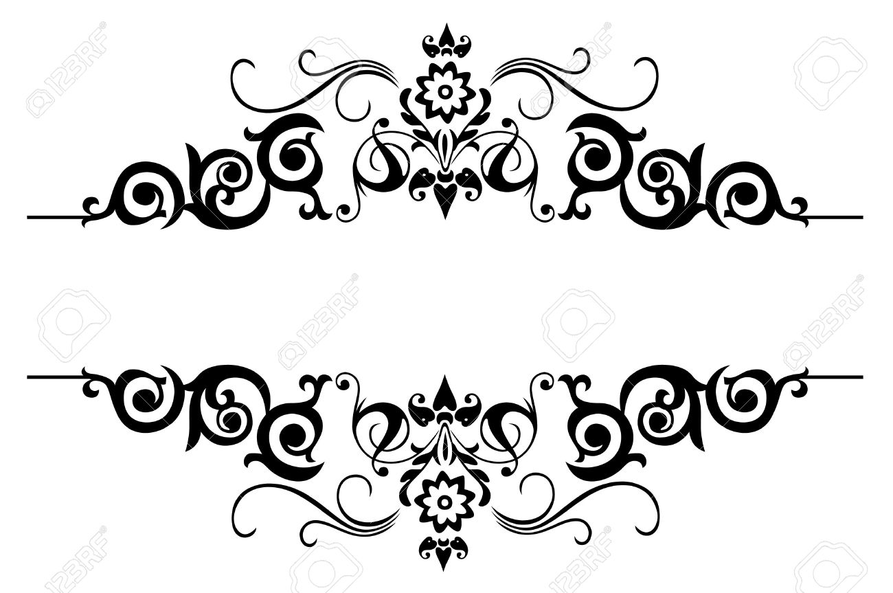 A Floral Border Design Over The White Background Stock Photo ...