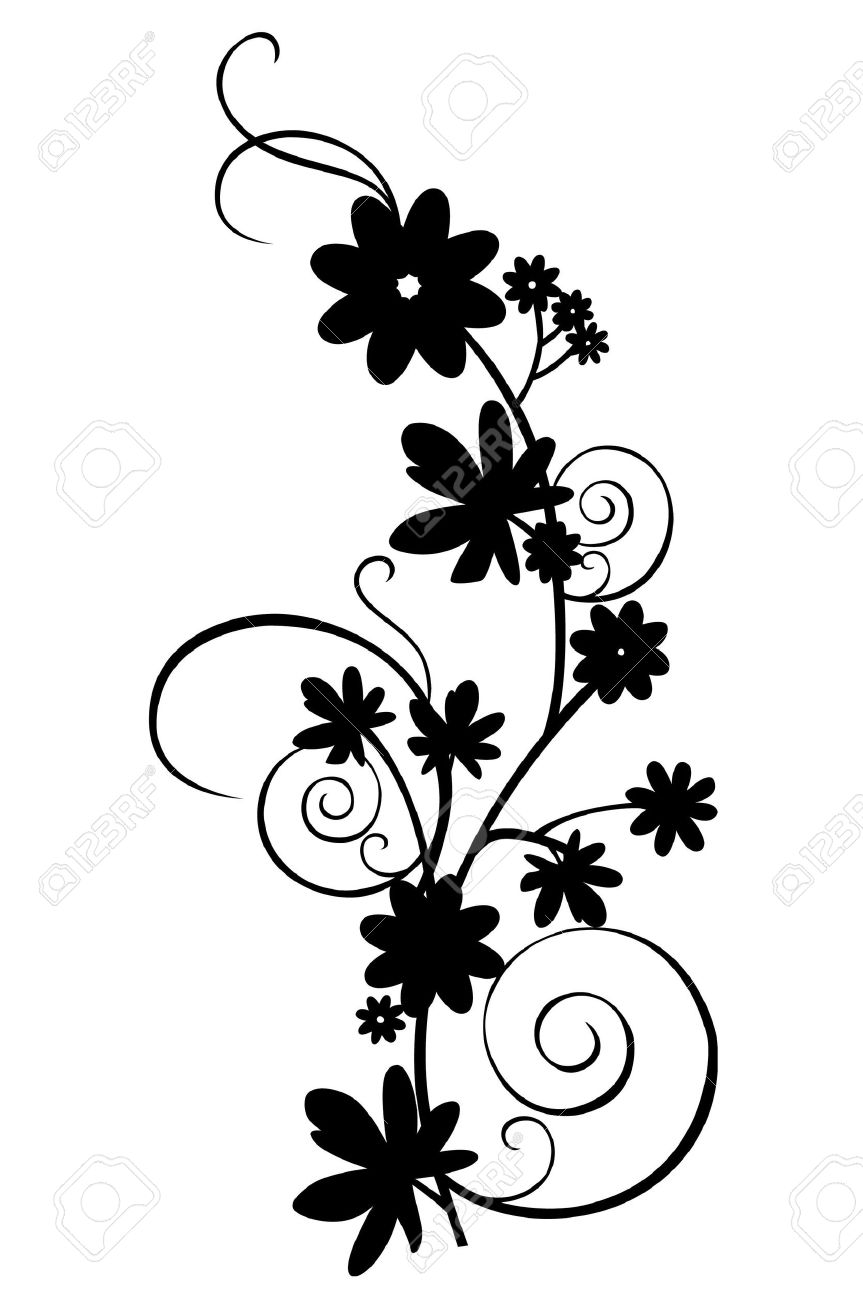 A Floral Border Design On The White Background Stock Photo